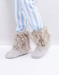 Bedroom Athletics Jean Short Faux Fur Boot - Grey
