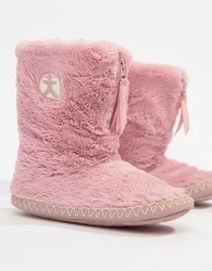 Bedroom Athletics Marylin faux fur slipper boot in pink - Pink