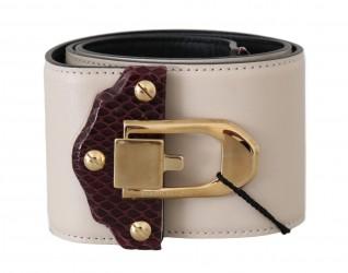Beige Leather Gold Buckle Wide Waist Belt