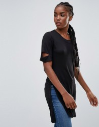 Bellfield Acacia Slash Arm Longline T-Shirt - Black