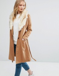 Bellfield Belted Wool Blend Coat With Faux Fur Collar - Brown