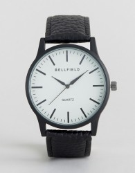 Bellfield Black Watch with Round White Dial - Black