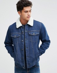 Bellfield Borg Lined Denim Jacket - Blue