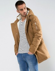Bellfield Borg Lined Parka With Hood - Beige