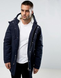 Bellfield Borg Lined Parka With Hood - Navy