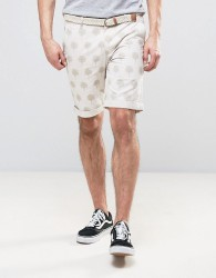 Bellfield Chino Shorts In Palm Print With Belt - Stone