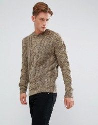 Bellfield Chunky Cable Jumper - Beige