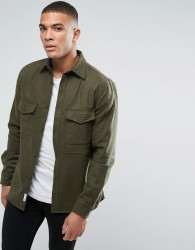 Bellfield Flannel Overshirt With Pockets - Green