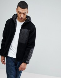 Bellfield Hooded Zip Through Jacket In Teddy Fleece - Black