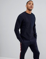 Bellfield Jumper With Mixed Textures - Navy