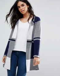 Bellfield Lally Oversized Check Cardigan - White