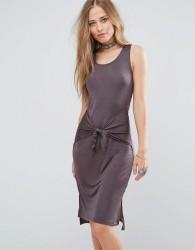 Bellfield Lizase Tie Front Split Side Midi Dress - Grey