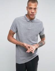 Bellfield Longline Polo Shirt In Clean Knit - Grey
