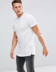 Bellfield Longline T-Shirt In Spacedye With Layered Hem - Grey