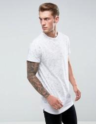 Bellfield Longline T-Shirt In Spacedye With Layered Hem - Grey