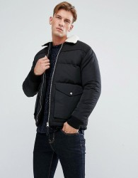 Bellfield Padded Jacket with Borg Collar - Black