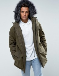 Bellfield Parka With Faux Fur Hood - Green