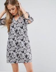 Bellfield Passi Tie Front Printed Shift Dress - Grey