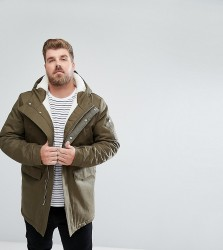 Bellfield PLUS Borg Lined Parka With Hood - Green