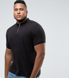 Bellfield PLUS Polo Shirt With Half Zip - Black