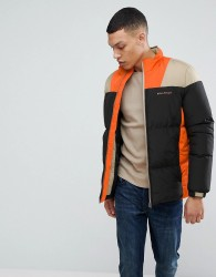 Bellfield Puffer Jacket In Colour Block - Black