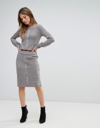 Bellfield Sanna Rib and Cable Mix Bodycon Skirt - Grey