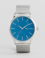 Bellfield Silver Watch with Round Blue Dial - Gold