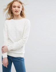 Bellfield Spotted Jacquard Knit Jumper - White