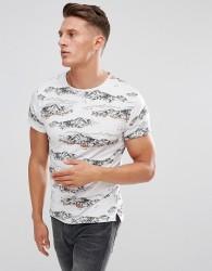 Bellfield T-Shirt In Mountain Print - White