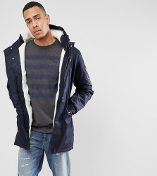 Bellfield TALL Borg Lined Parka With Hood - Navy