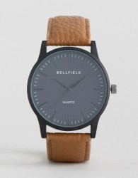 Bellfield Tan Watch with Round Black Dial - Brown