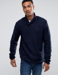 Bellfield Textured Shawl Collar Jumper - Navy