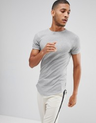 Bellfield Waffle T-Shirt In Muscle Fit With Curved Hem - Grey