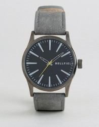 Bellfield Watch With Black Dial and Grey Strap - Black