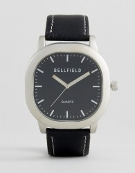 Bellfield Watch With Black Strap And Silver Case - Black