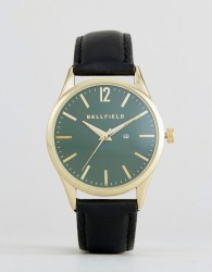 Bellfield Watch With Green Dial And Black Strap - Grey