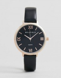 Bellfield Watch With Rose Gold Case and Black Strap - Black