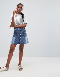 Bellfield Wiltoni Blocked Denim A Line Skirt - Blue