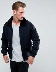 Bellfield Wool Jacket With Faux Fur Collar - Navy