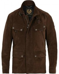 Belstaff Denesmere Suede Field Jacket Chocolate Brown men 54