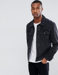 Bershka Denim Jacket In Black - Black
