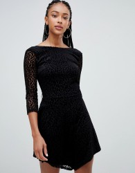 Bershka long sleeved leopard dress - Black