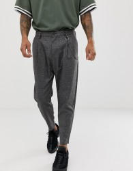 Bershka loose carrot fit trousers in dark grey with chain - Grey