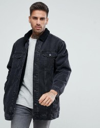 Bershka Oversized Denim Jacket With Borg Lining In Black - Black