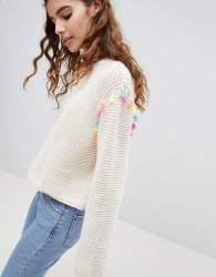 Bershka pompom jumper in cream - Cream