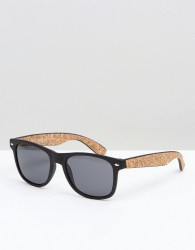 Bershka Retro Sunglasses With Wooden Effect In Black - Black