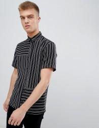 Bershka Short Sleeved Shirt In Black With Stripes - Black