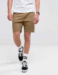 Bershka Slim Fit Chino Shorts In Tan - Red
