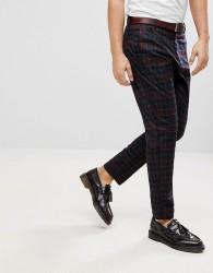 Bershka Straight Fit Checked Trousers - Purple