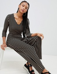 Bershka striped tie waist jumpsuit - Multi